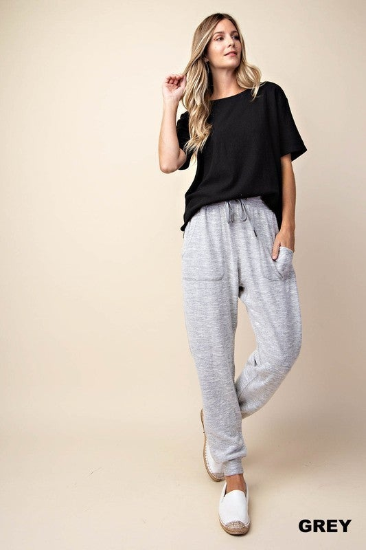 Soft Brush Jogger Pants With Pockets