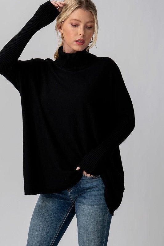 Rib Knit Mock Neck Sweater