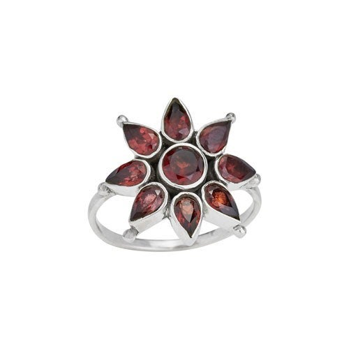 Glowing Flower Facet Garnet Ring