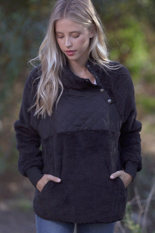 Faux Fur Pullover with Pocket Front Quilted Panel