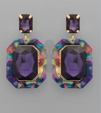 Acrylic Octagon Earrings