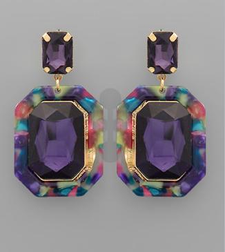 Acrylic Octagon Earrings
