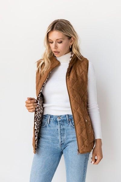 Leopard Brown Reversible Vest *Final Sale*