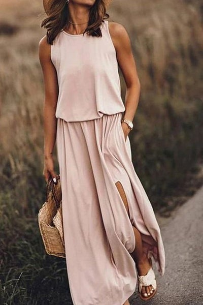 Blush Maxi Dress with Front Slit