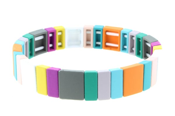 Multi Square and Rectangular Metal Shape Stretch Bracelet
