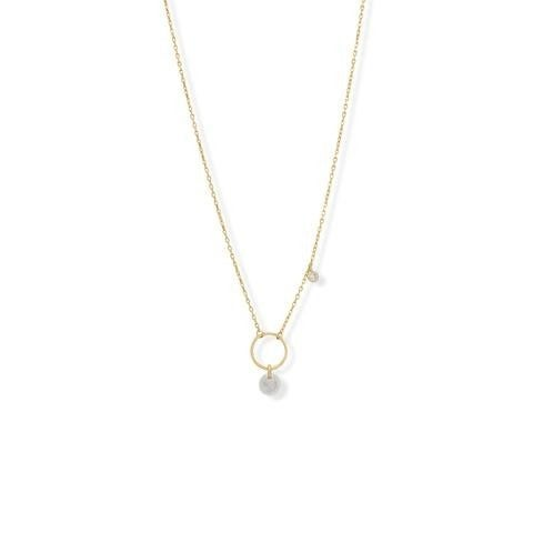 """A Kiss of Cute 16"""" + 2"""" Moonstone and CZ Charm Necklace"""