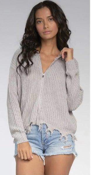 Distressed Zip Up Sweater