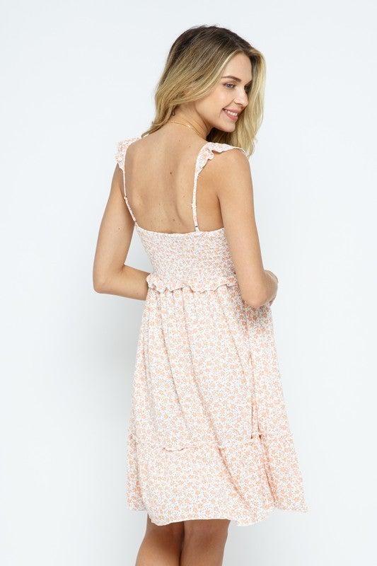 Square Neck Floral Midi Dress
