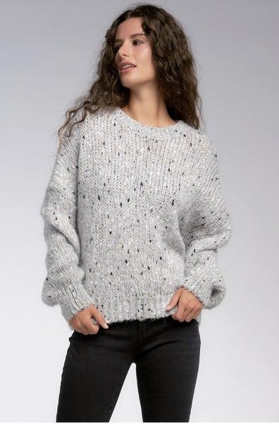 Grey Drop Shearling Sweater