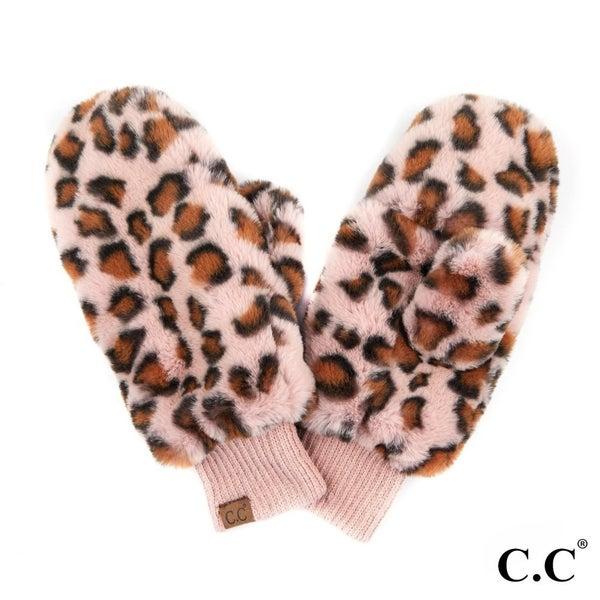 Rose Leopard Print Faux Fur Texting Mitten