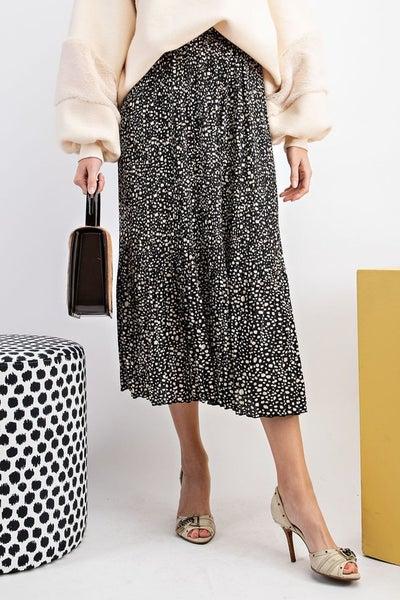Black Allover Pleated Maxi Skirt