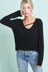 Black Casual V-Neck Long Sleeve Stretch Top