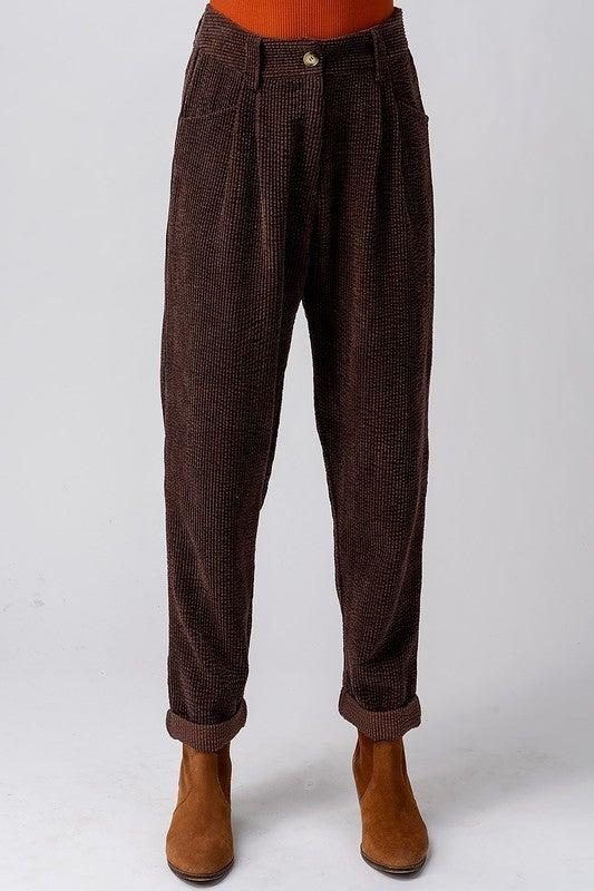 Black High Waisted Slouchy Corduroy Pants *Final Sale*