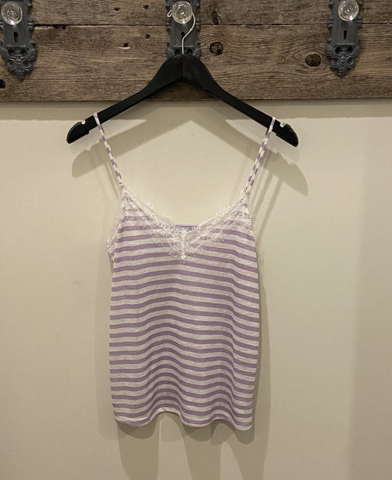 Lace and Striped Tank Top *Final Sale*