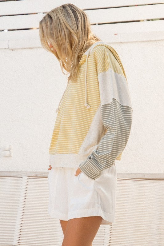 Stripe French Terry Color Block Hoodie