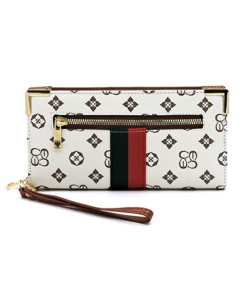 Monogrammed Stripe Clutch Wallet Wristlet