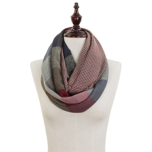 Lightweight Checkered Color Block Mix Pattern Infinity Scarf