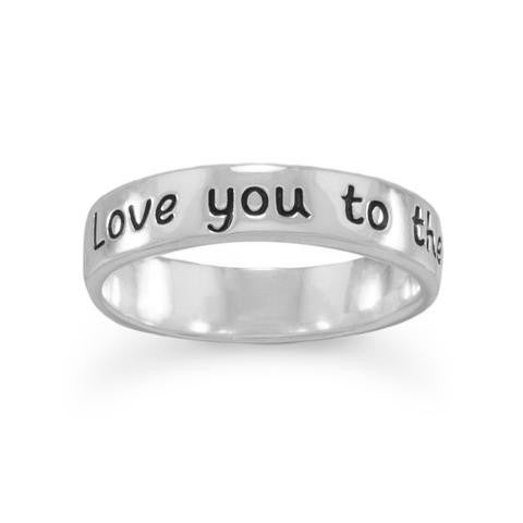 """""""Love you to the moon and back"""" Ring - Size 6"""