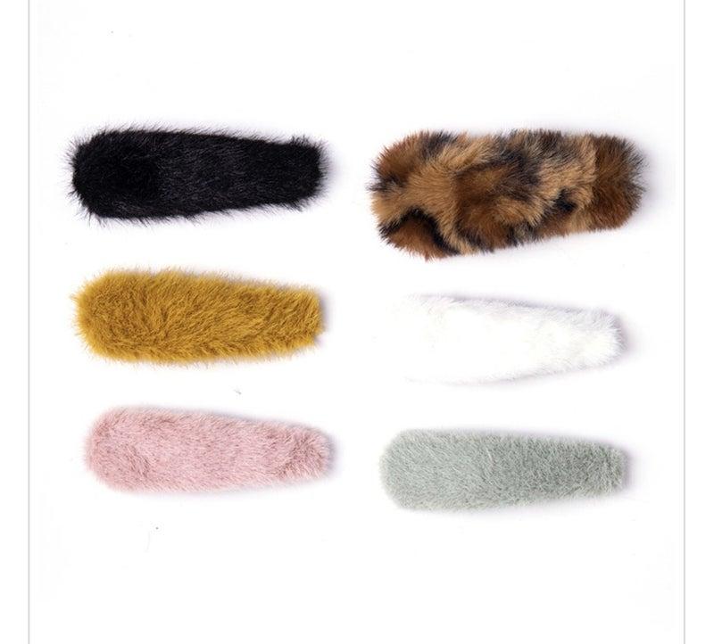 Faux Fur Hair Clips