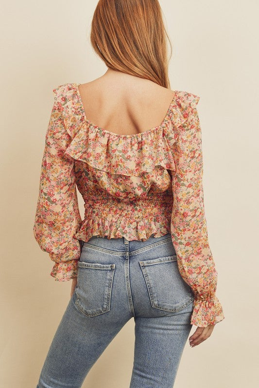 Floral Square-Neck Blouse