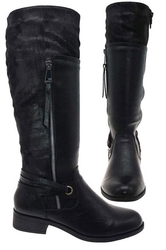Black Riding Boot with Calf Extension