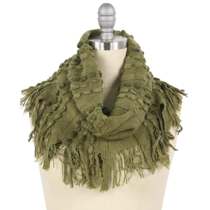 Stitch Knit Tube Scarf with Fringe Tassels