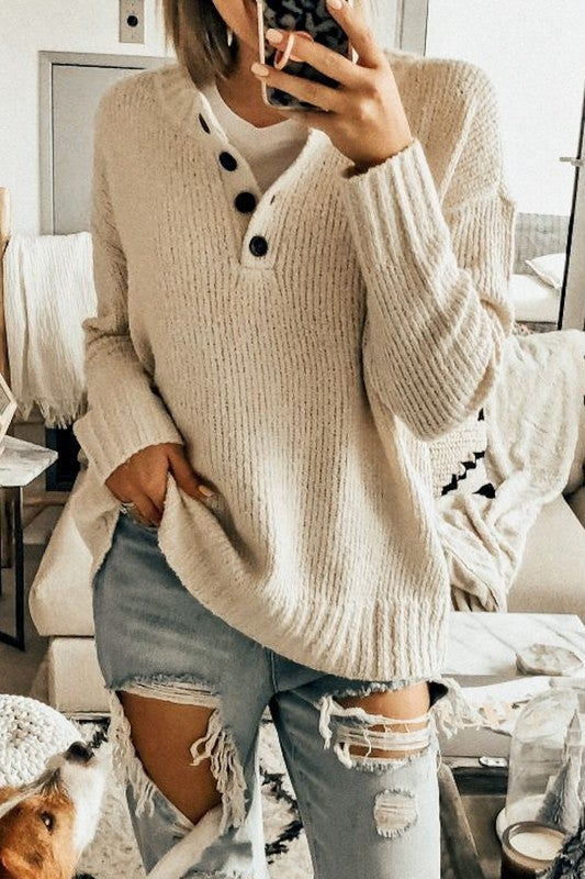 Ivory Button Up Sweater