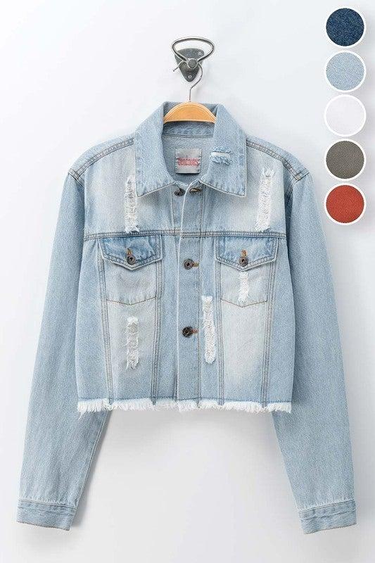 Distressed Short Light Denim Jacket
