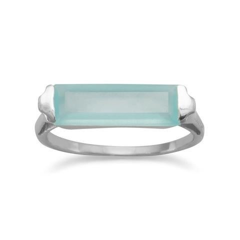 Rhodium Plated Green Chalcedony Bar Ring - Size 7