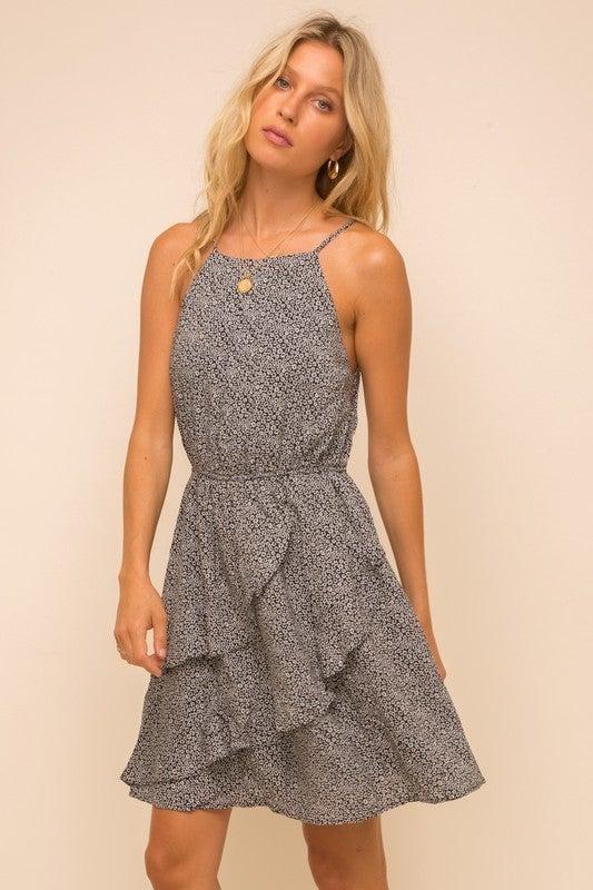 Ruffle Detailed Halter Neck Dress