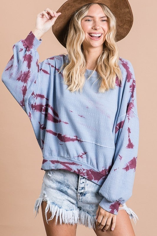 Tie dyed Round Neck Top