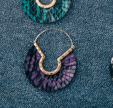 Leather Snakeskin Feather Wire Earrings