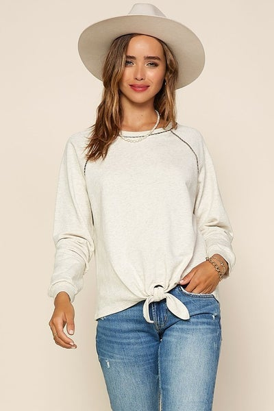 Ivory Knit Tie Front Top