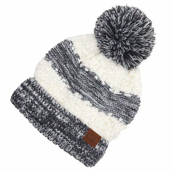 Popcorn Yarn Sherpa Knit Pom Beanie