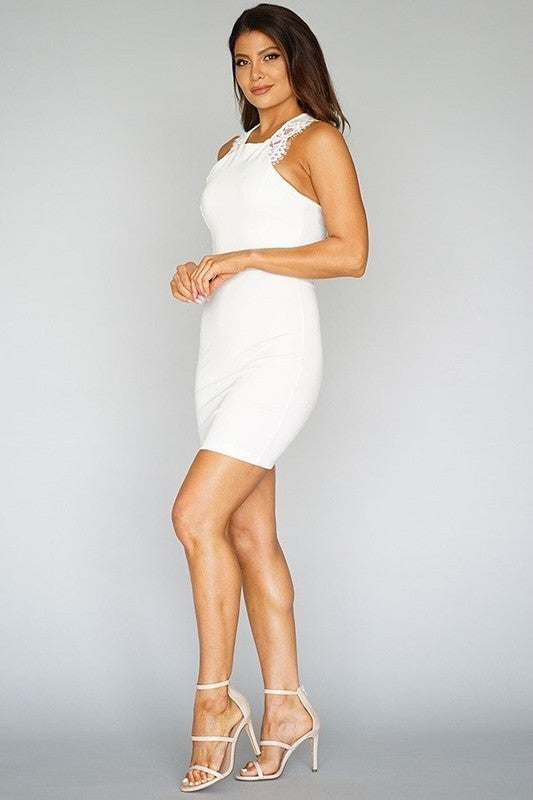 Lace Trim Sleeveless Bodycon Dress