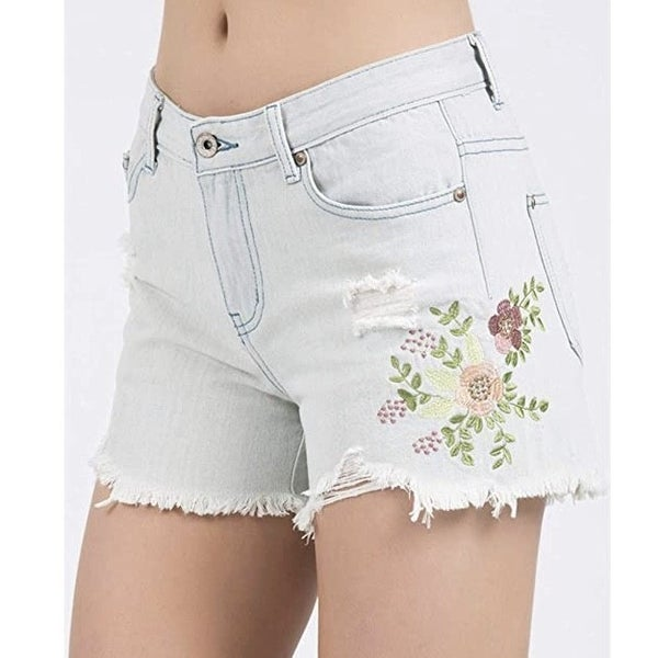 Floral Embroidered Jean Shorts