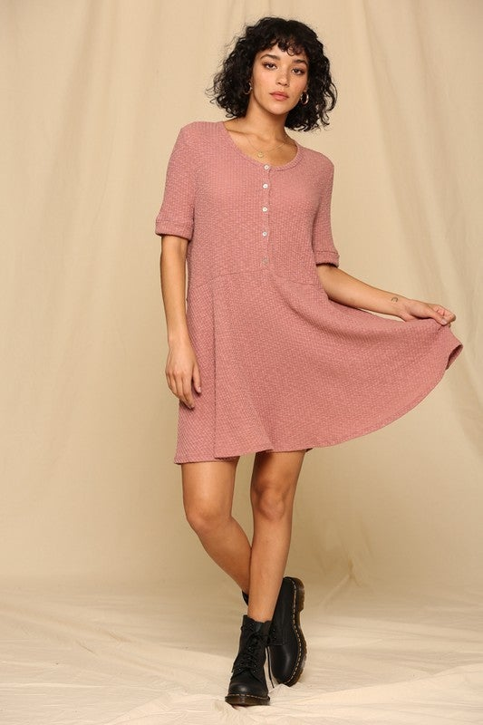 Button Front Short Sleeve Ribbed Dress *Final Sale*