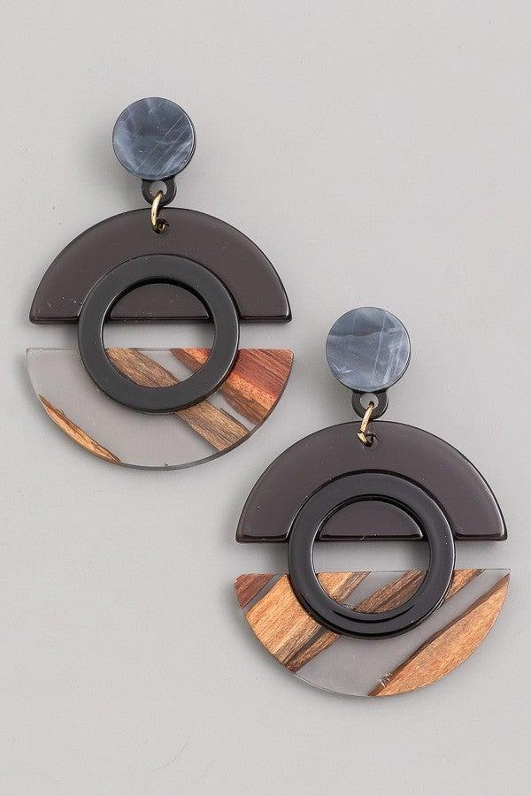 Unique Circle Acetate Drop Earrings