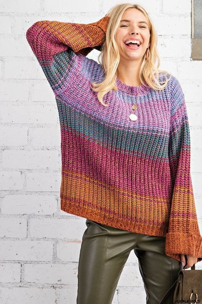 Marled Wide Sleeve Sweater