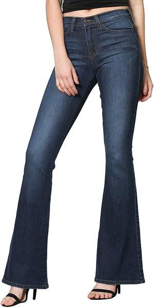 Flying Monkey Women's High Rise Dark Wash Flare Jeans