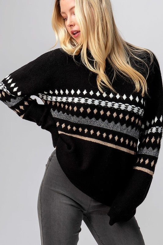 Geo Knit Drop Shoulder Sweater