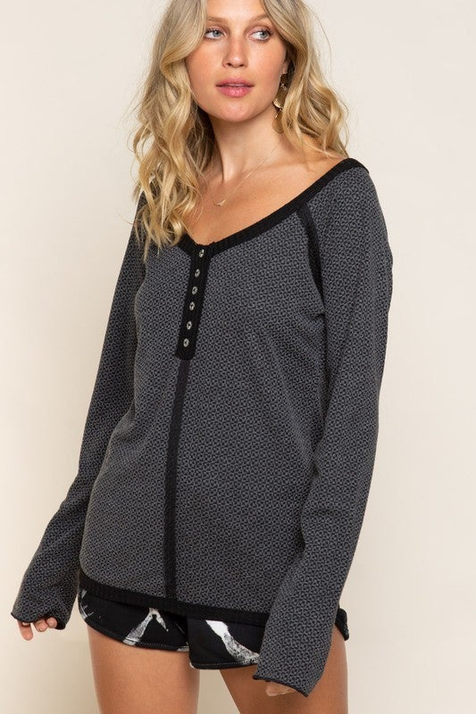 Charcoal Two Tone Henley Top
