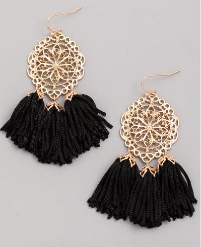 Sacred Geo Tassel Dangle Earrings