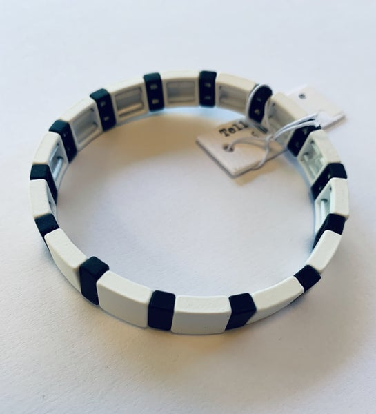 White & Black Stretch Tile Bracelet