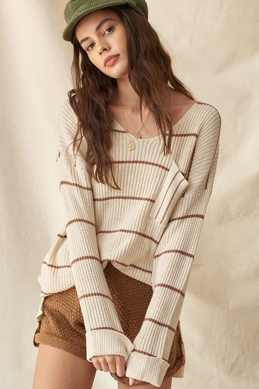 Striped Rib-Knit Oversized Pocket Sweater