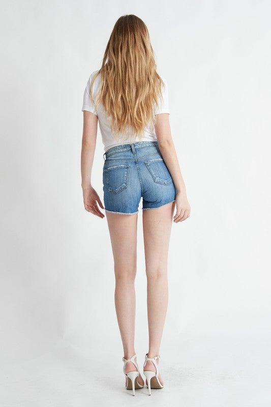 Medium Blue High Rise Raw Hem Shorts