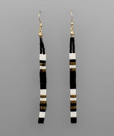 Black/Multi Bead Bar Drop Earrings