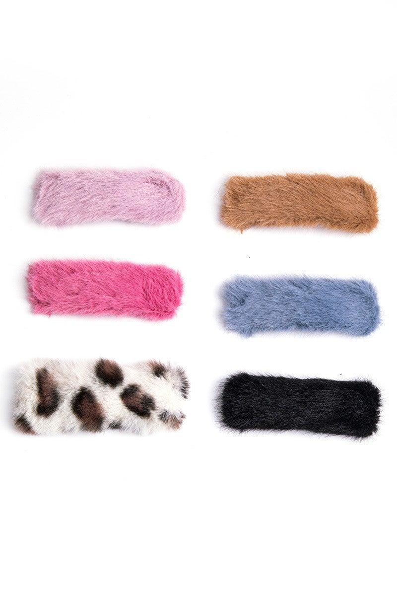 Multi. Faux Fur Hair Clips Set