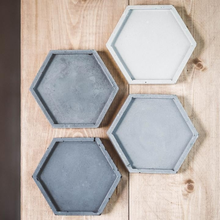 Grey Hexagon Ombre Concrete Coaster - Set of 4