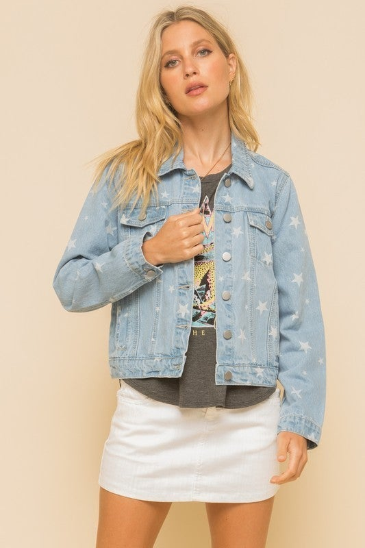 Star Printed Denim Jacket